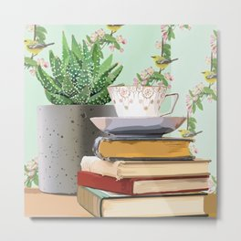 Tea and book love Metal Print