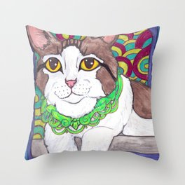 Big eyes kitty cat art Throw Pillow