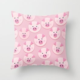 piggy pattern Throw Pillow