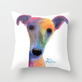 Nosey Dog Whippet Greyhound ' PANSY ' by Shirley MacArthur Throw Pillow