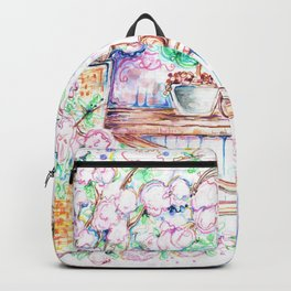 Flowers and bench Backpack