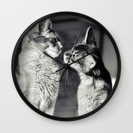 Cute cats who are curious about each other! Wall Clock