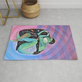 Space Earth Love Painting Nature Soul Mates Couple Wedding Art Tapestry (Infinite Love) Rug