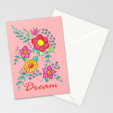 Dream - Bright flowers on pink Stationery Cards