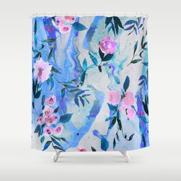 Floral Marble Swirl Shower Curtain