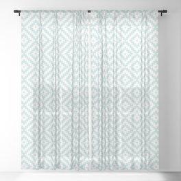 Aztec Block Symbol Ptn Blue & White II Sheer Curtain