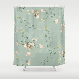 Sweet pea botanical pattern in green Shower Curtain