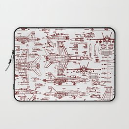 F-18 Blueprints // Red Ink Laptop Sleeve
