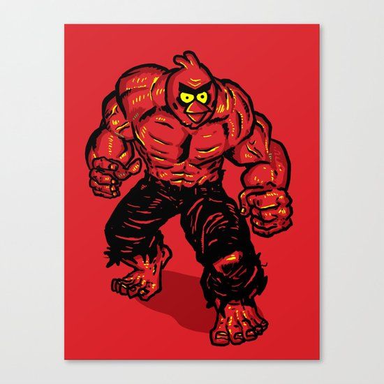 Angry Bird hulk Red Canvas Print