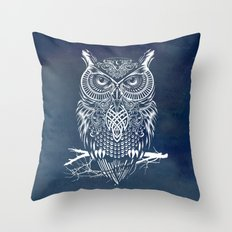 Warrior Owl Night Throw Pillow