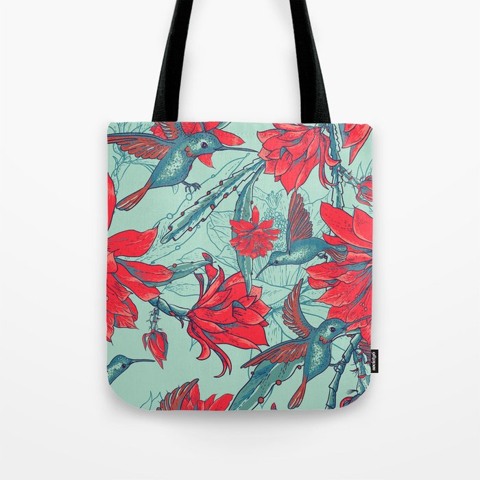 Flowers and Hummingbirds Tote Bag