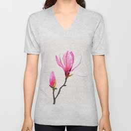 magnolia watercolor painting Unisex V-Neck