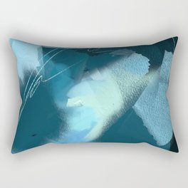 Midnight Blossom: an abstract, mixed media piece in dark and light blue / greens by Alyssa Hamilton Rectangular Pillow