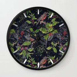 Christmas Botanical with Dark Background Wall Clock