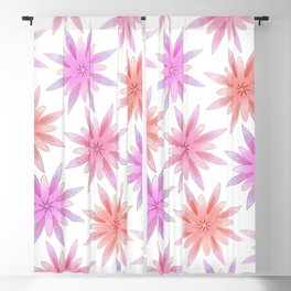 Modern Hand Painted Gold Watercolor Pink Lilac Floral Blackout Curtain