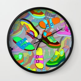 seamless pattern with shoes Wall Clock
