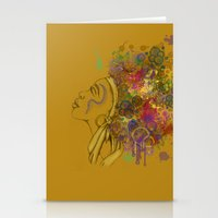 afro Stationery Cards featuring Afro by KiraTheArtist