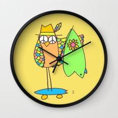 Keep Shredding Surf Skate Peace Owl Wall Clock