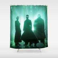 matrix Shower Curtains featuring The Matrix by Mikko