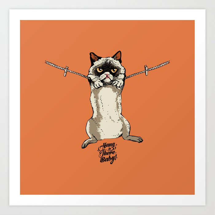 Hang in There Baby Cat Art Print
