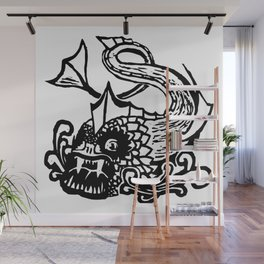 Demon Fish Wood Block Print Wall Mural
