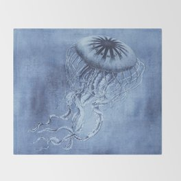Blue Jellyfish Underwater Magic Throw Blanket