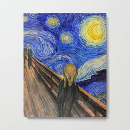 "Edvard Munch,"" The Scream "" + Van Gogh,"" Starry night "" Metal Print"
