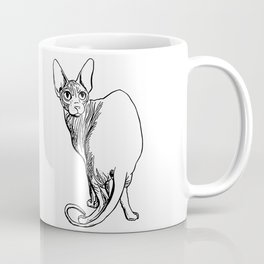Sphynx Cat Illustration - Sphynx - Cat Drawing - Naked Cat - Wrinkly Cat - Black and White Coffee Mug