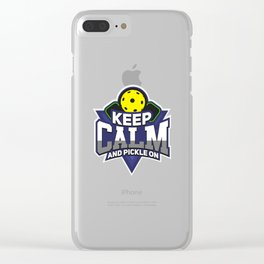 Pickleball Design: Keep Calm And Pickle On I Badminton Tennis Clear iPhone Case