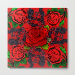 Rose Day Of The Dead Roses Tattoo Red Floral Collage Woman Print Metal Print
