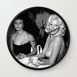 Jayne Mansfield and Sophia Loren at Romanoff's in Beverly Hill Canvas Poster (Unframed) Wall Clock