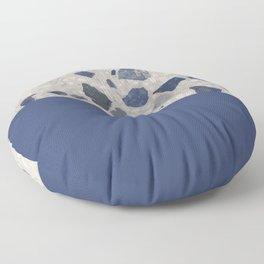 Terrazzo Texture Dark Blue #2 Floor Pillow