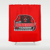 thundercats Shower Curtains featuring  thundera university by Buby87
