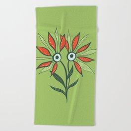 Cute Eyes Flower Monster Beach Towel