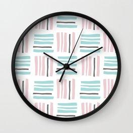 Stripes×Checkered Pattern_Mint Green&Pink&Gray Wall Clock