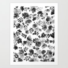 Floret Black and White Art Print