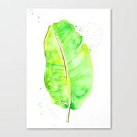 banana leaf Canvas Prints featuring Banana Leaf by Aloha Ateljé