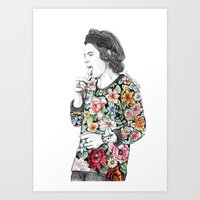 coconutwishes Art Prints featuring Harry  sketch  by Coconut Wishes