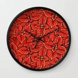 Coleus Leaves, Botanical Floral Pattern Red Orange Wall Clock