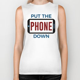 Less Phone More Connection Human Touch Biker Tank