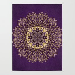 Golden Flower Mandala on Textured Purple Background Poster
