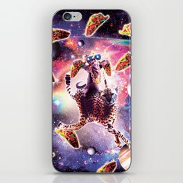 Thug Space Cat On Cheetah Unicorn With Taco iPhone Skin