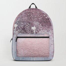 Dandelion Floral Drawing on Rose Gold Metal Backpack