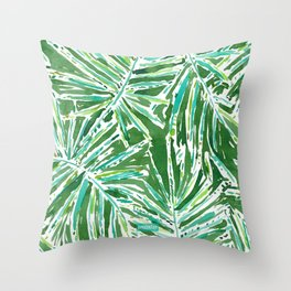 PALMY AND 85 Green Tropical Palm Throw Pillow