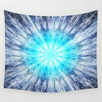 snowflake Wall Tapestries featuring Blue Snowflake Mandala by 2sweet4words Designs