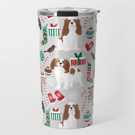 Cavalier King Charles Spaniel christmas pattern gift for dog lover pet friendly pet portrait Travel Mug