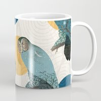 mandie manzano Mugs featuring Night Owl Polka by Paula Belle Flores