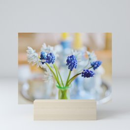 Blue and white spring lily Mini Art Print