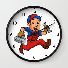 handyman Running With A Toolbox Wall Clock