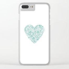 Heart shape maori koru flower abstract design Clear iPhone Case